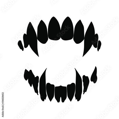 Wallpaper Mural vampire teeth vector isolated on white background