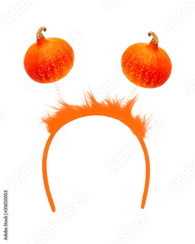 headband with pumpkins isolated on a white background Fototapet