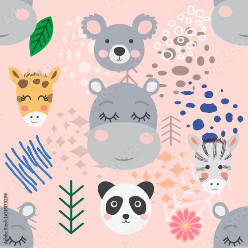 forest animal seamless pattern. hand drawn illustration