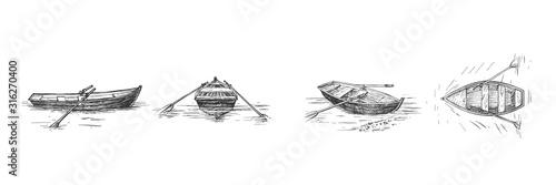 Obraz na plátně Empty rowing boat on lake set