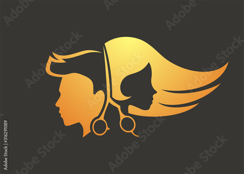 Creative design of hairdressing icon