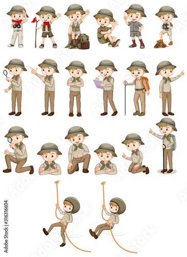 Valokuvatapetti Set of boy in safari outfit doing different actions