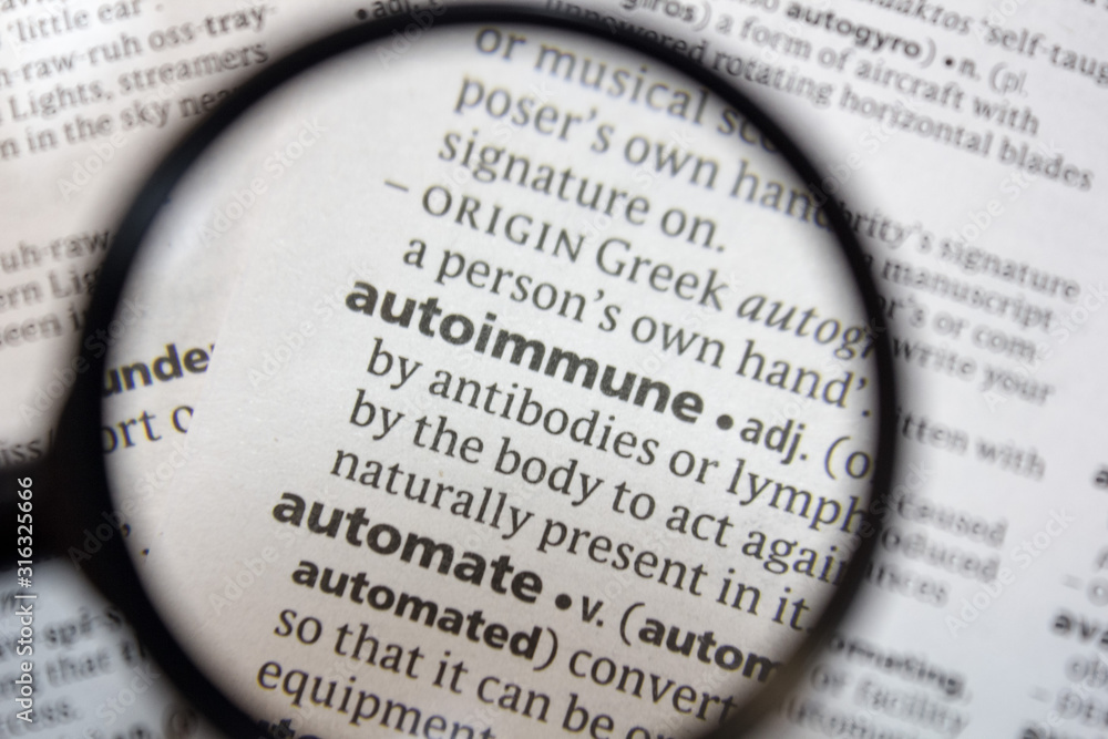 The word of phrase - autoimmune - in a dictionary.