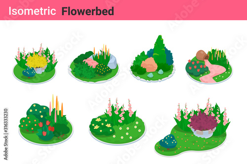 Canvas Print Isometric Flower bed flat vector collection