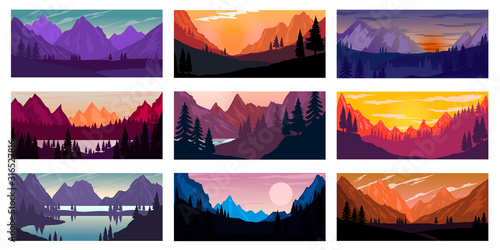 Tableau sur Toile Set of poster template with wild mountains landscape