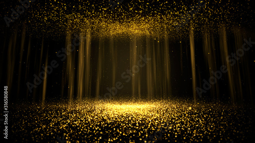 Tablou Canvas Abstract background shining golden floor ground particles stars dust