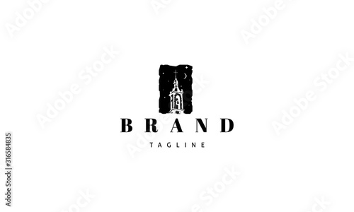 Fotografia Vector logo on which an abstract image of an old bell tower.