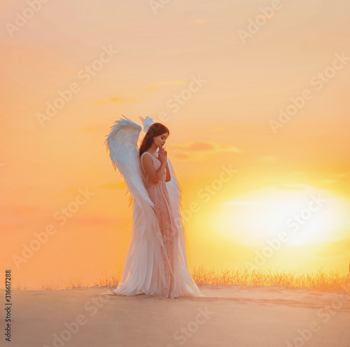 Fotografia Attractive young woman angel stands in desert praying