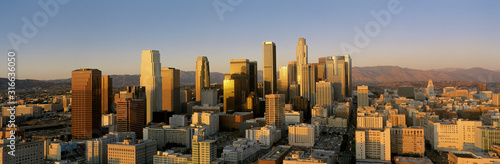 Canvas Print This is a view of the Los Angeles skyline at sunset.