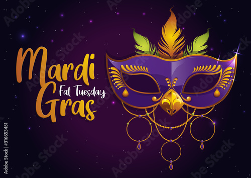 Photo Mardi Gras, Carnival Party with Purple Feather Mask,  gretting card banner, poster,  template, Flyer & brochure On background sparkling stars, vector illustration, EPS10