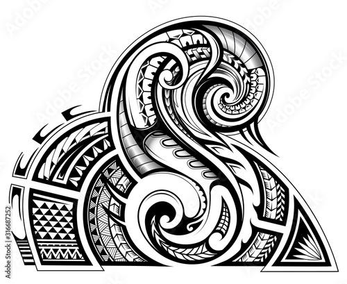 Fotografie, Obraz Shoulder and sleeve tattoo design in tribal art style
