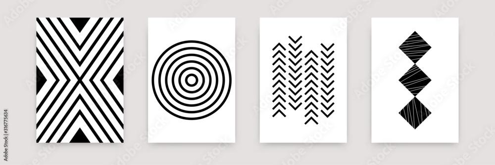 Streszczenie geometryczny wzór czarny biały zestaw. Wektor skandynawskie szablony płaskiej sztuki projektowania. Prosta ilustracja szwajcarski styl na tapetę, plakat, ulotkę, baner, wystrój domu <span>plik: #316775634 | autor: Yelyzaveta</span>