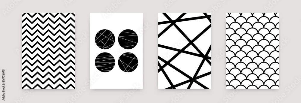 Zestaw geometryczny streszczenie czarno biały wzór. Wektor skandynawskie minimalistyczne szablony sztuki plakatu. Prosta ilustracja szwajcarski styl tapety, ulotki, baner, wystrój domu <span>plik: #316776075 | autor: Yelyzaveta</span>