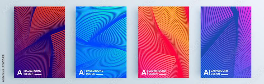 Zestaw nowoczesnych abstrakcyjnych okładek, minimalistyczny projekt okładek. Kolorowy geometryczny tło, wektorowa ilustracja. <span>plik: #316785408   autor: Lepusinensis</span>