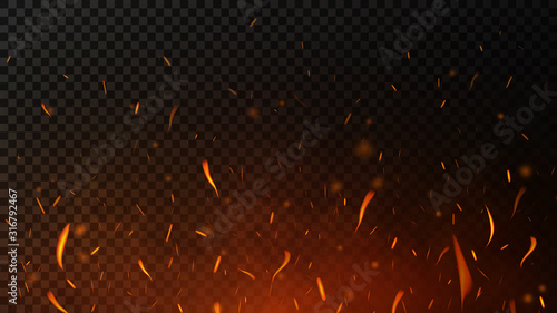 Obraz na plátně Fire sparks on dark transparent background