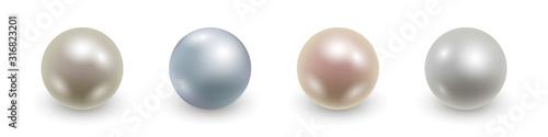 Set of realistic 3d pearls isolated. Vector illustration Fototapeta