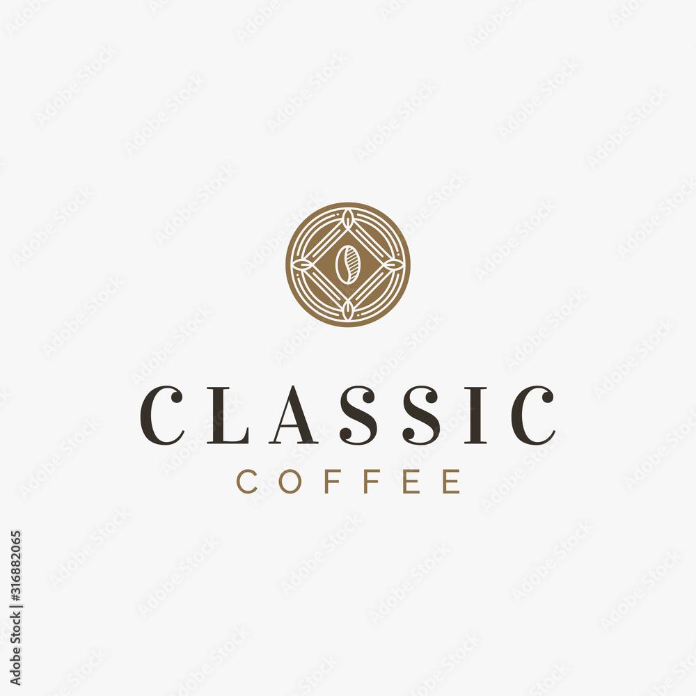 A classic and vintage coffee logo emblem in art deco style <span>plik: #316882065   autor: Antivisual</span>