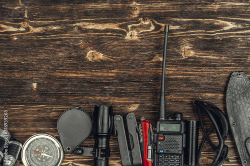 Photo travel hiking equipment tools, view from above