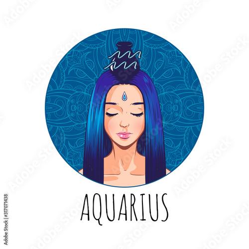 Obraz na plátně Aquarius zodiac sign artwork, beautiful girl face, horoscope symbol, star sign,