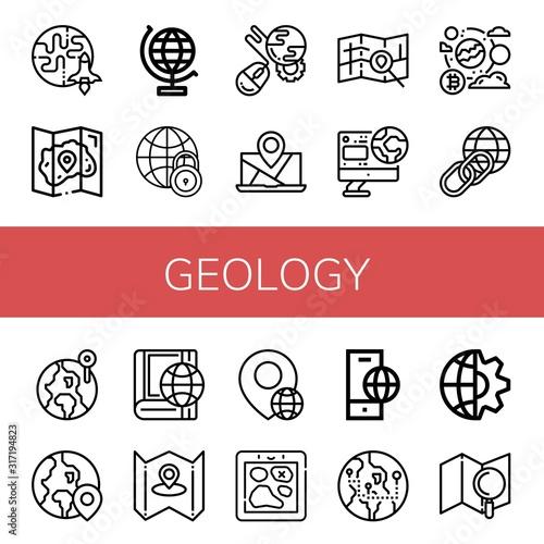 Fototapeta geology simple icons set