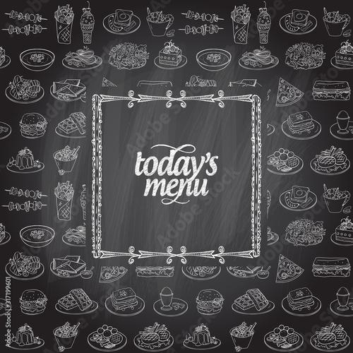 Fotografie, Obraz Chalk today's menu board design template