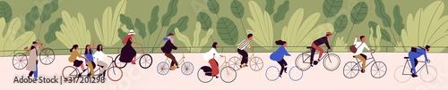 Fotografija People ride bicycling at bicycle parade vector flat illustration