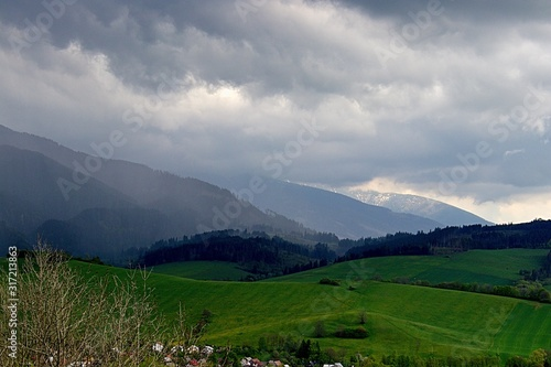 Beaufiful Slovakia moutain with storm, Rohace Tatra, Lake Liptovska Mara