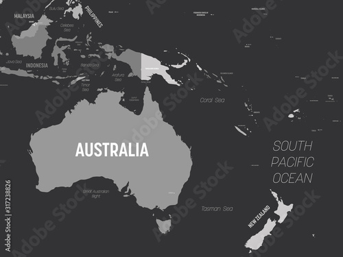 Wallpaper Mural Australia and Oceania map - grey colored on dark background