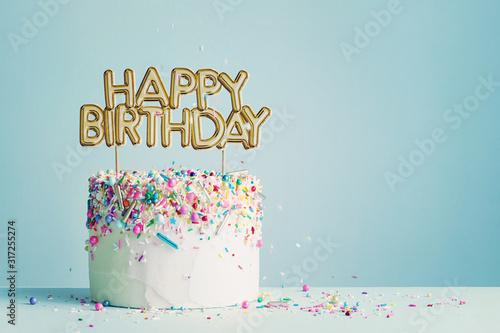Canvas Print Birthday cake with happy birthday banner