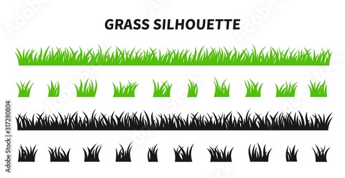Obraz na plátně Vector set of green grass silhouettes isolated on white background