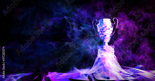 Fototapeta Cyberpunk trophy with smoke on dark blue futuristic background for e-sport winne