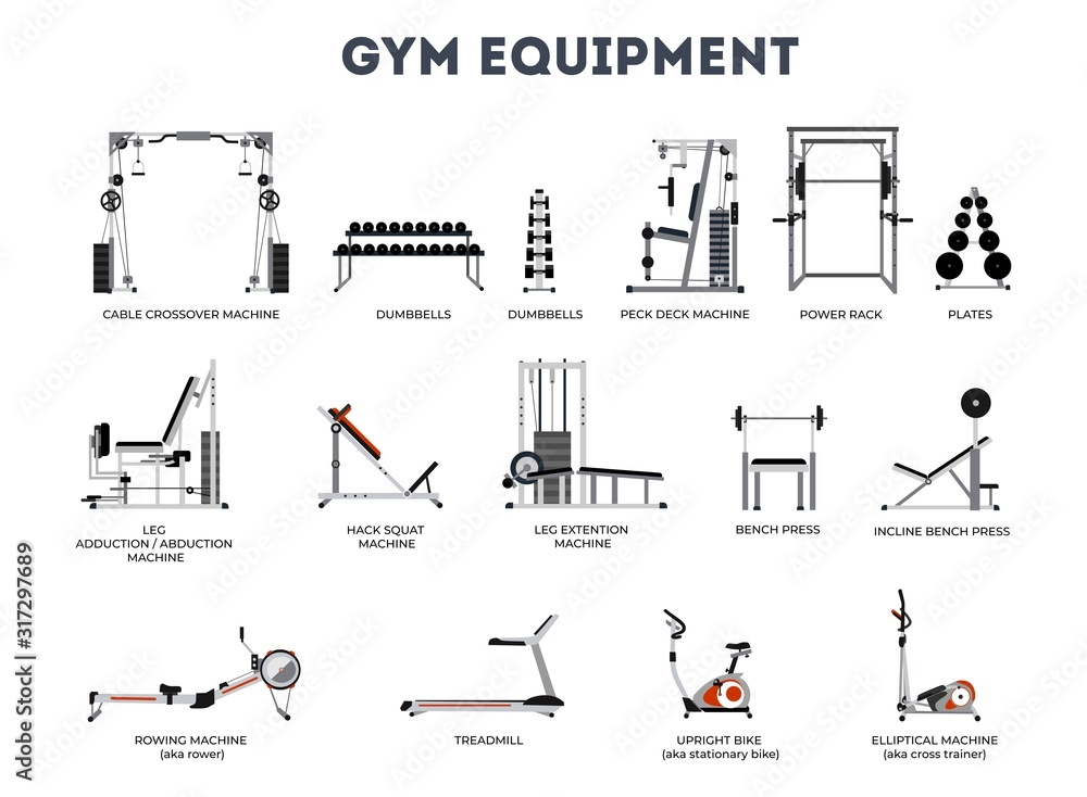 Set of gym equipment on white background vector illustration. Different fitness equipment for muscle building flat style design. Shoulder and neck building exercise. Workout and training concept <span>plik: #317297689   autor: Microstocker.Pro</span>
