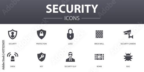 Stampa su Tela Security simple concept icons set