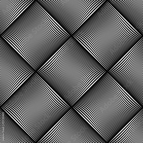 Seamless checked pattern. Wavy lines texture.