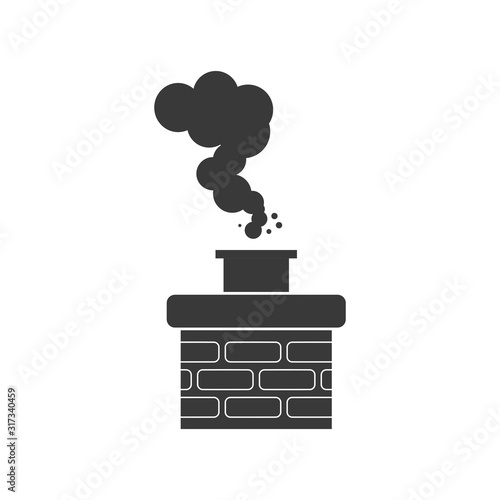 Canvas Chimney smoke icon for chimney sweep concept in vector