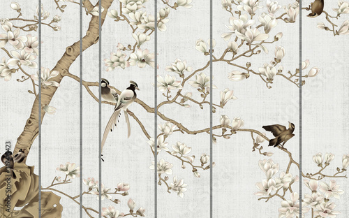 Stampa su Tela Light textured background, white magnolia flowers on a tree and birds