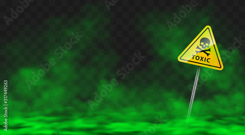 Valokuva Warning sign in toxic green smoke or fog clouds