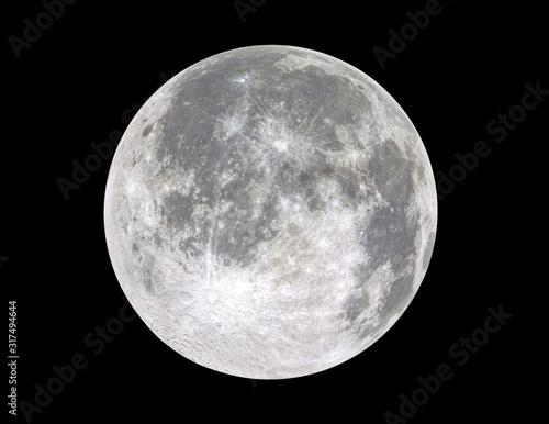 Obraz na płótnie Full moon isolated on black background