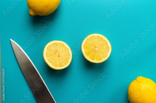 Citrus on a blue background