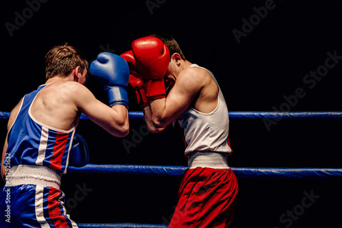 Cuadros en Lienzo boxers opponent stand in defense in boxing match
