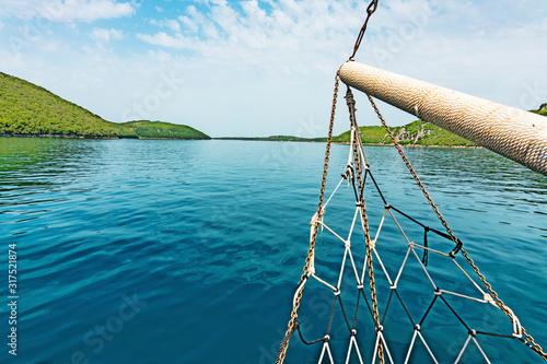 Carta da parati prow with net on board of a ship in the Lim Fjord, Limski Canal, near Rovinj in