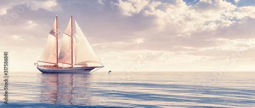 Canvas Print sailboat sailing in the sea