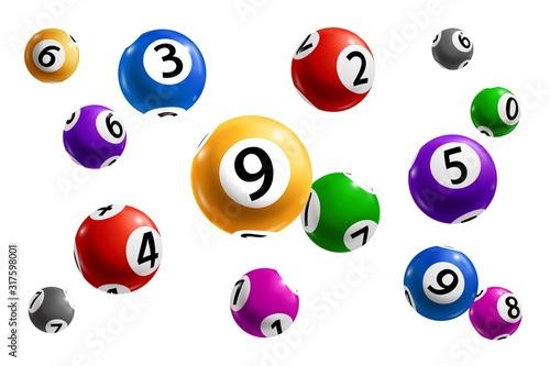 Fotografía Bingo, lotto and keno lottery balls with numbers
