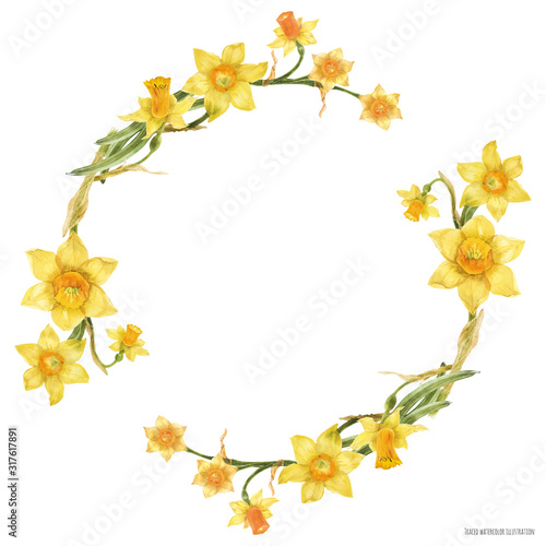 Tablou Canvas Decorative watercolor wreath with yellow daffodil flowers