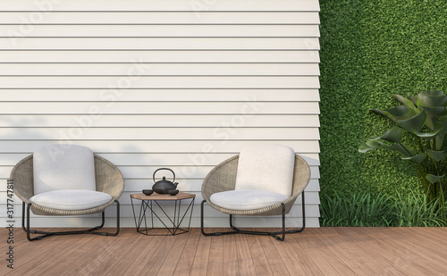 Fotografia Empty wall exterior 3d render,There are white wood plank wall and wooden floor,decorate with rattan lounge chair, decorate wall with green plant