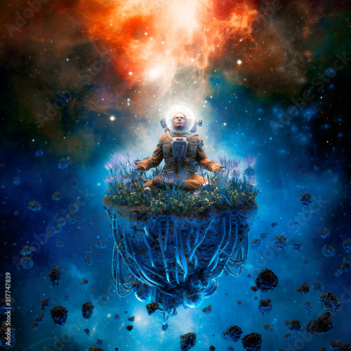 Photo The cosmic gardener / 3D illustration of surreal science fiction scene with medi