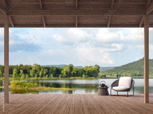 Photo Wood terrace with beautiful lake and mountain view 3d render,There are old wood