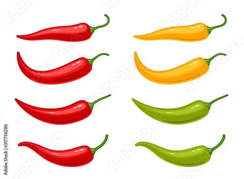 Fotografia Hot chili peppers set isolated on white background