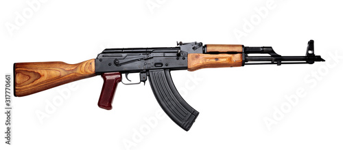 Valokuva Kalashnikov assault rifle akm assembled isolated on white background