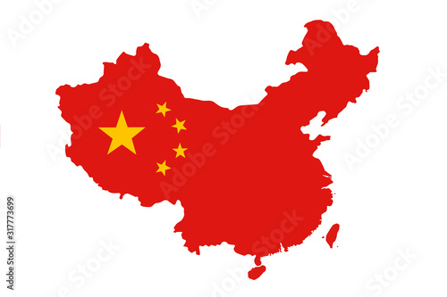 Tela Flag of China in the form of a map on a white background